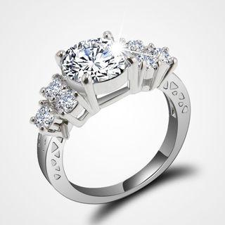 5.80/ct Lab diamond White Sapphire Wedding Ring 10KT White Gold Jewelry Size6-10