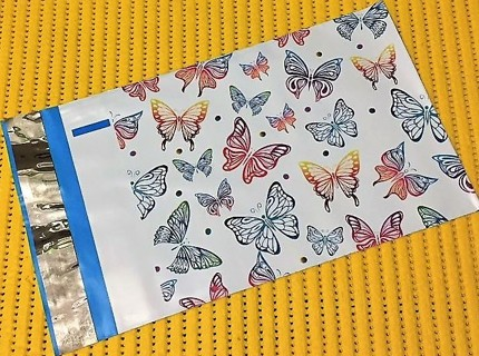 "3 RAINBOW BUTTERFLIES 14.5"" x 19"" Poly Mailers"
