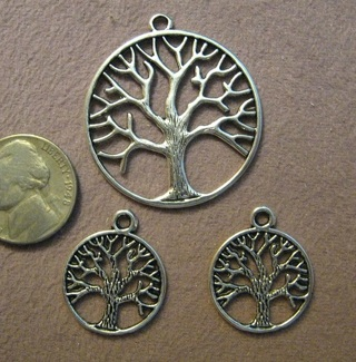1 Large and 2 Small Silver color Pewter Tree charms ~ make a necklace with earrings!