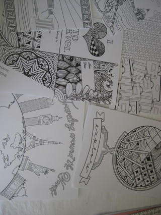 "coloring pages, 5 pc. 8""x6"", travel themes, new"