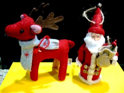 Set of Reindeer and Santa, Target Collectible Cloth Soft Ornaments