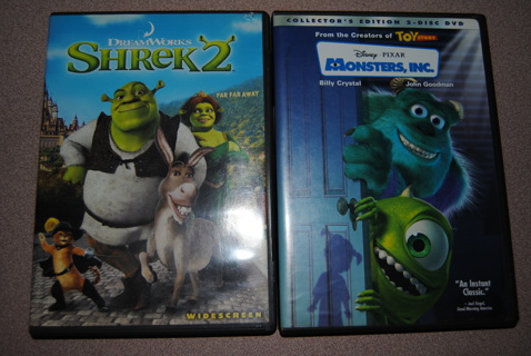 ***LOOK*** Great Children's Movie Lot: Shrek 2 and Monster's Inc. *GIN*