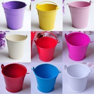 Iron Cute Bucket Colored Wedding Party Favour Keg Box Gift Pails Candy Lolly