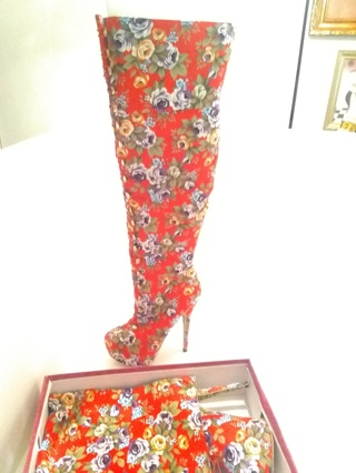 New, Womens Red High Heel Boots