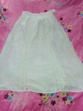 Women's White Boho Flowing Skirt