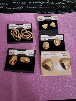 5 Pair Vtg Goldtone Piece Earrings