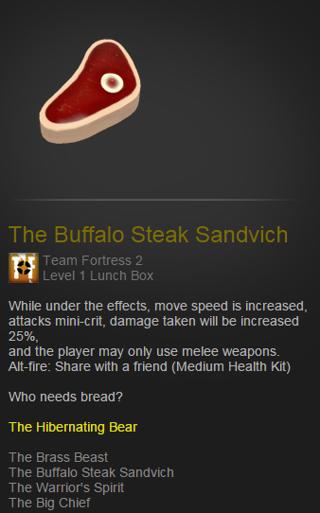 Free Steamtf2 Team Fortress 2 The Buffalo Steak Sandvich