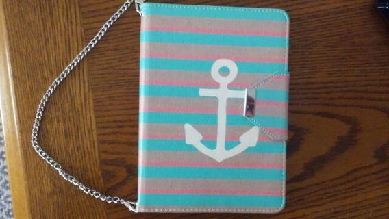 Kindle HDX tablet striped anchor purse wallet stand.