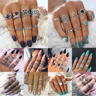 9pcs/lot Vintage Bohemian Crystal Flower Retro Silver Gold Boho Finger Ring Set