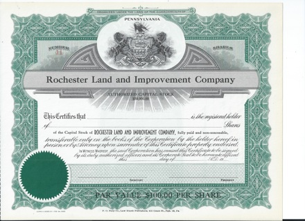 Rochester land and Improvement stock certificate Early 1900s Pennsylvania
