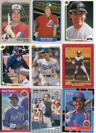 (9) Gary Carter Baseball Cards