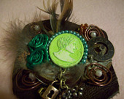 Leather Barrette Cameo, Mixed Media, Steampunk-ish