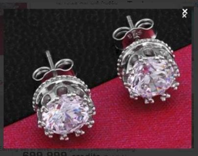 3Carat - Gorgeous simulated Diamond Earrings with .925 sterling silver GIN FREE SHIPPING