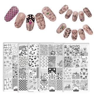 DIY Different Design Nail Art Stamping Plates Love Skull Star DIY Nails Image Stamp Plates Manicur