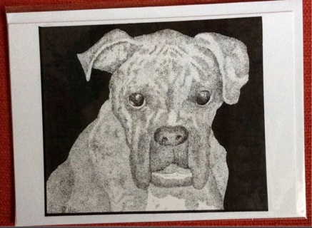 "BOXER DOG - 5 x 7"" Art Card by artist Nina Struthers - GIN ONLY"