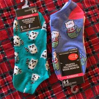 3 pairs of Women's Socks/ Raccoons, Cat Mermaids & Stripes NWT