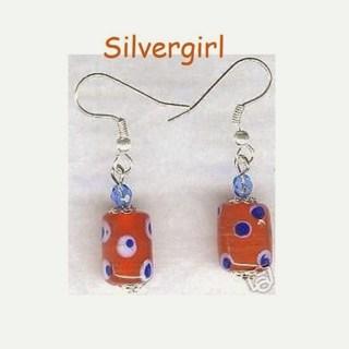 Orange Blue Dot Lampwork Earrings