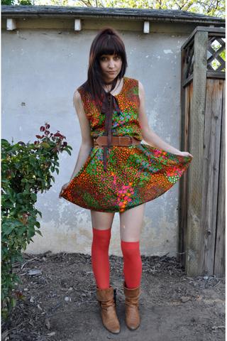 The New Fashion Craze! Bright Colored Nylon Knee High Stockings Aqua & Royal Blue, Orange & Hot Pink