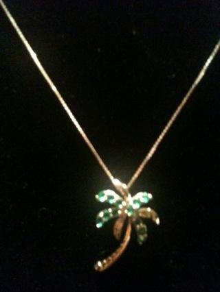 Free 10k white gold emeralds and diamond palm tree pendant w10k 10k white gold emeralds and diamond palm tree pendant w10k box chain aloadofball Images