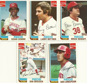 15-Card Lot of 1982 Topps Coca-Cola Cincinnati Reds Cards