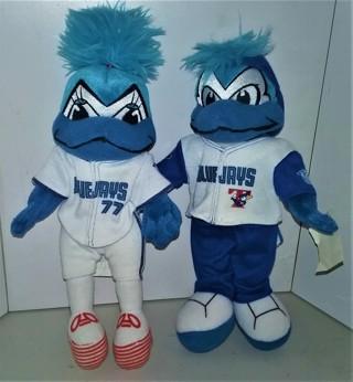 "2 2001 MLB Toronto Blue Jays stuffed souvenir dolls by Majestic - 10"" tall each - VG condition"