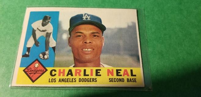 1960 - TOPPS EXMT - NRMT BASEBALL - CARD NO. 155 - CHARLIE NEAL - DODGERS