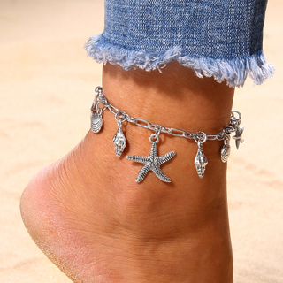 2 Style Bohemian Wave Shell Conch Starfish Turtle Lips Pendant Chain Tassel Anklet Women Fashion