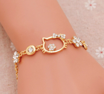 New style fashion gold Color Bracelet top quality Hello kitty New Arrival hot women Jewelry