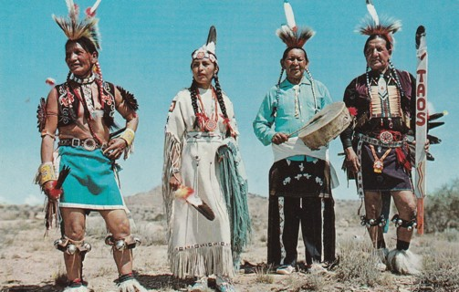 Vintage Used Postcard: Indians in Full Dress