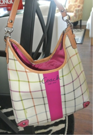 Authentic Coach Pink White Plaid Bag Purse Tote Messenger Cross Body