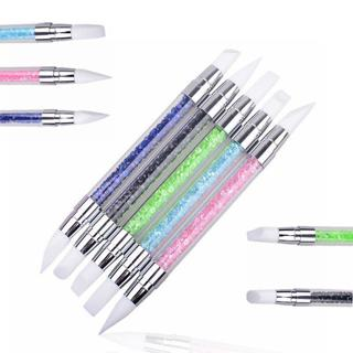 2 Way Crystal Silicone Head Nails Dotting Rhinestone Tools Nail Art Paint Sculpture Pen Design Man