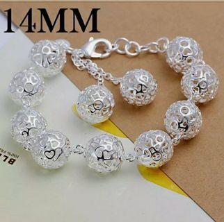 beautiful Fashion 925silver cute pretty women bracelet wedding jewelry ball