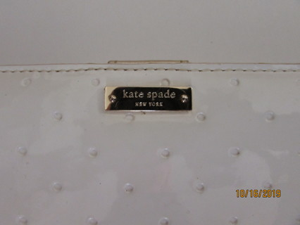 Pre Owned Kate Spade Wallet White w/ Gold Interior- Stained & Faded