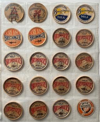 Lot of Vintage 1940s milk & cream caps Breuningers, Harbisons dairies