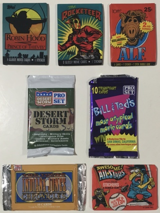 7 New Factory Sealed Non-Sport Trading Card Packs 1980s-1990s Topps, Upper Deck, Pro Set, Leaf