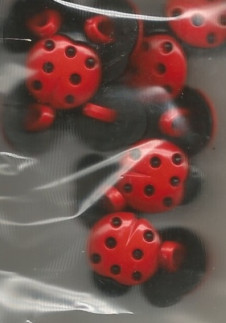 Two Acrylic Lady Bug Shank Button - 15mm