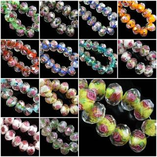 Hot 20pcs Rondelle Faceted Glass Rose Flower Inside Lampwork Beads Spacer Charms