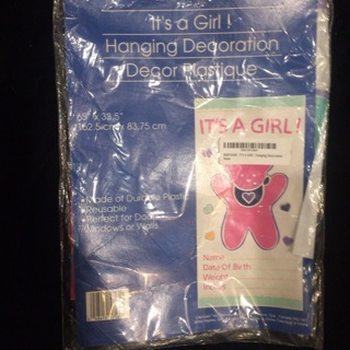 *It's A Girl* plastic sign NEW