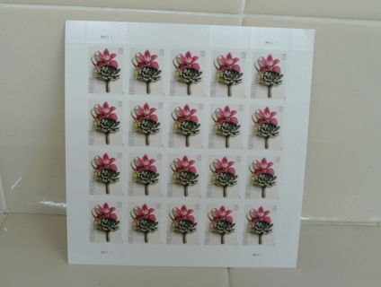 FOREVER 100 STAMPS 5 SHEETS BUTONNIERE