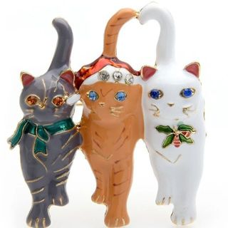 Super cute Christmas cats trio brooch , perfect jewelry New free shipping