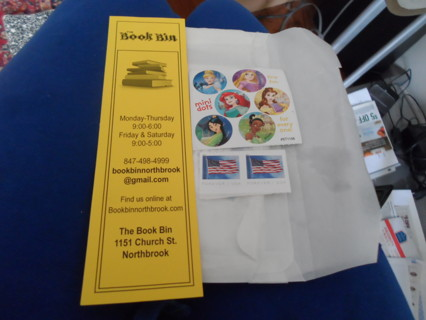 COMBO PACK 1 BOOK MARK TINY STIC                         KERS & 2 55 CENT STAMPS