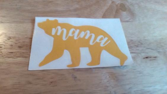 Yellow Mama Bear Decal: New