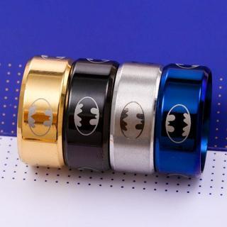 Size 6-13 Titanium Men Boy Batman Symbol Stainless Steel Jewelry Ring 10MM