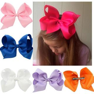6 Inch Large Hairbow Baby Girls Hair Bows Grosgrain Ribbon With Clips
