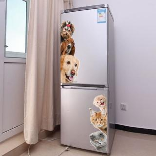 Dogs Cats 3D Wall Sticker Funny Door Window Wardrobe Fridge Decorations for Kids Room Home Decor C