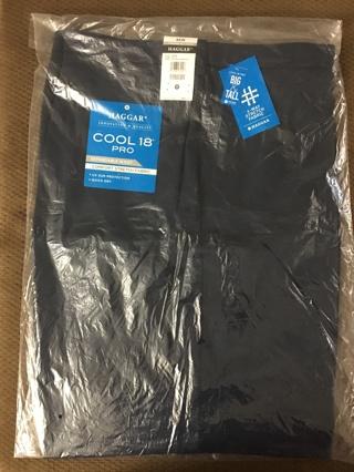 HAGGAR COOL 18 PRO DRESS SHORTS  NAVY 46W NEW