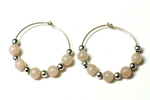 Rose Quartz and Silver Beaded Hoop Earrings - New