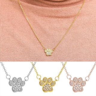 Fashion Footprint Dog Paw Crystal Zircon Pendant Chain Necklace Women Jewelry