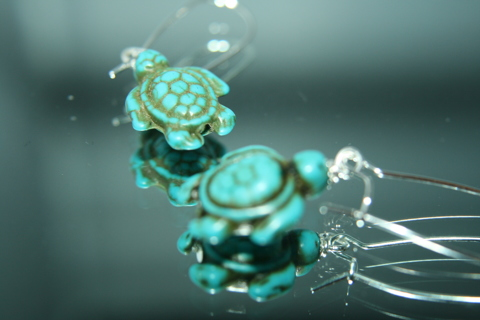 Lovely peruvian  turquoise lucky turtles earrings sterling silver stamp L@@K