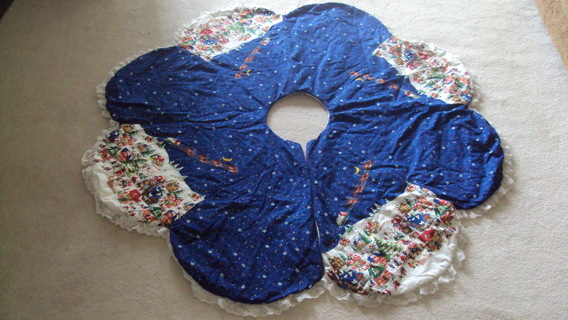 Blue Quilted Christmas Tree Skirt